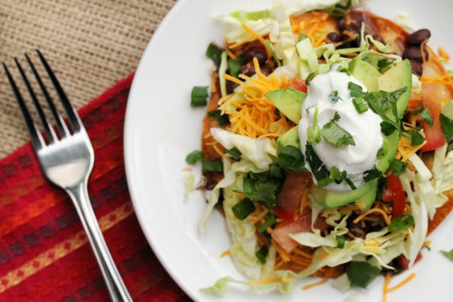 Black Bean Tostadas on plate