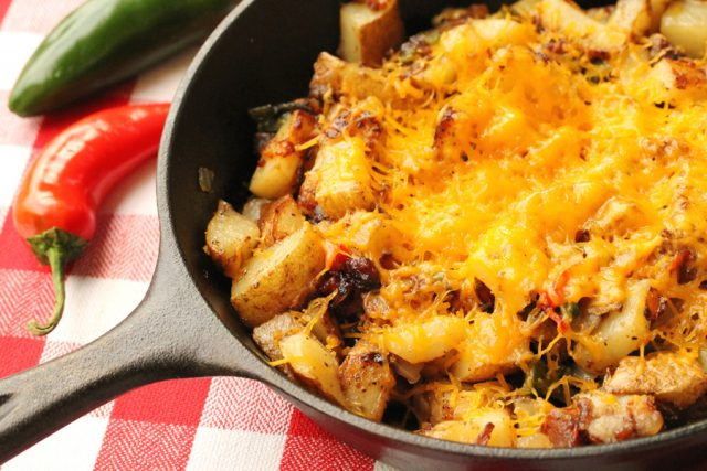 Melted Cheese on Fried Potatoes