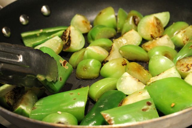 Cook Tomatillos in pan