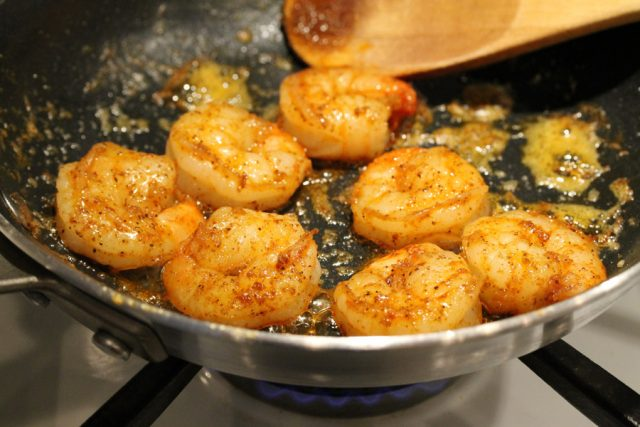 Cook Shrimp and Spices in Pan