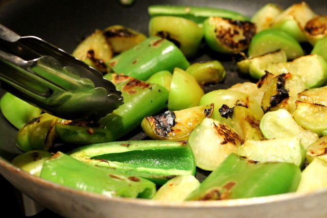 Roast Tomatillos and Peppers in pan