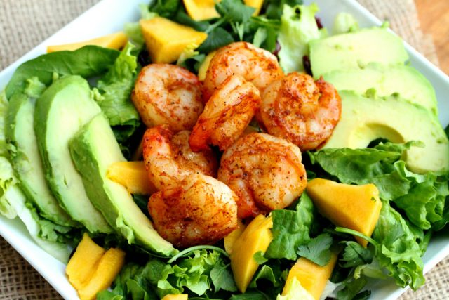 Spicy Shrimp in Salad on plate