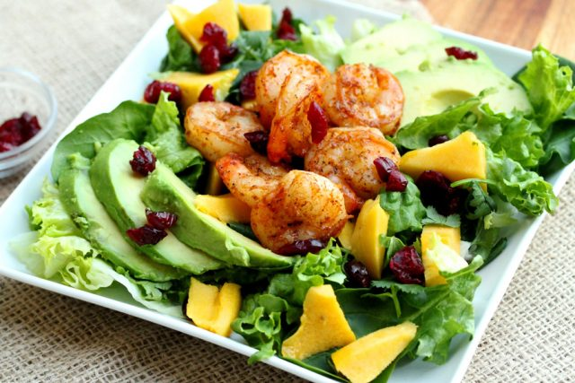 Spicy Shrimp Salad on plate