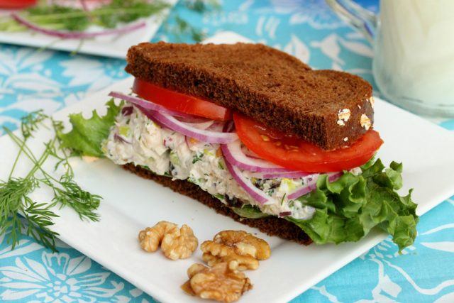 Tuna Salad with Walnuts on plate