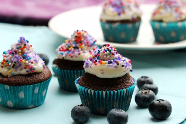 Chocolate Blueberry Cupcake