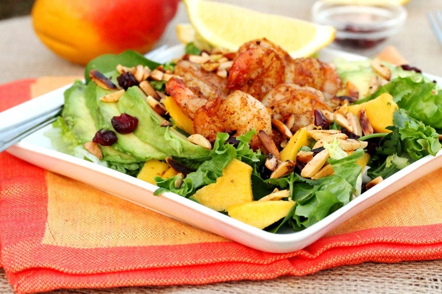 Mango, Avocado And Grilled Shrimp Salad With A Peanut Dressing Recipes ...