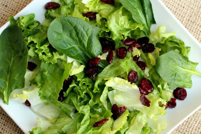 Dried Cranberries and Lettuce on plate