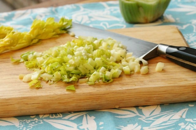 Chopped Celery on Board