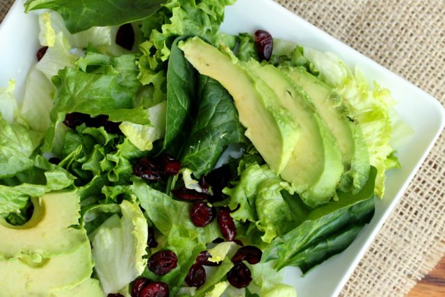 Avocado and Lettuce Salad on plate
