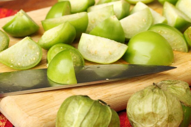 Cut Tomatillos on board
