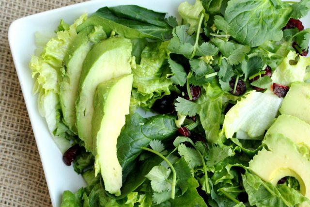 Avocado and Lettuce on plate