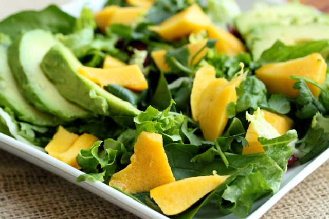 Mango and Lettuce on plate