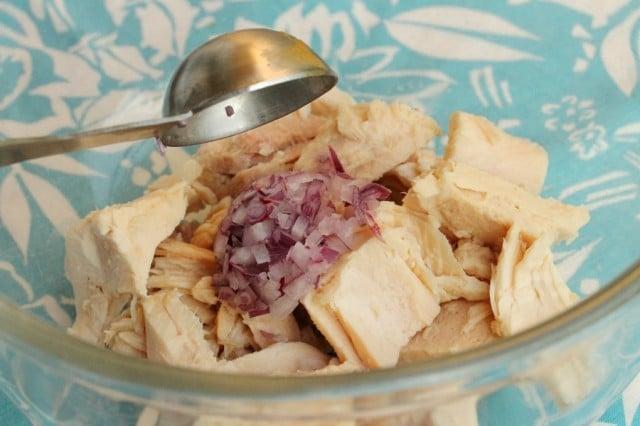Chopped Onions on Tuna