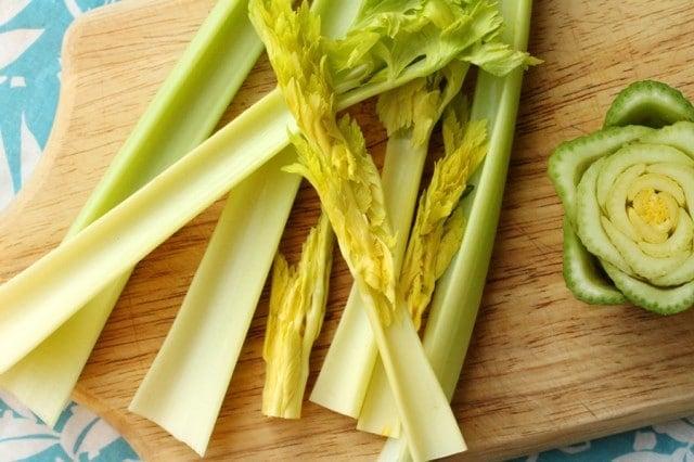 Celery Stalks on Cutting Board