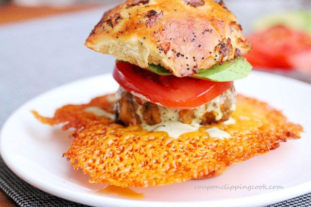 Crispy Cheese Burger Slider on plate