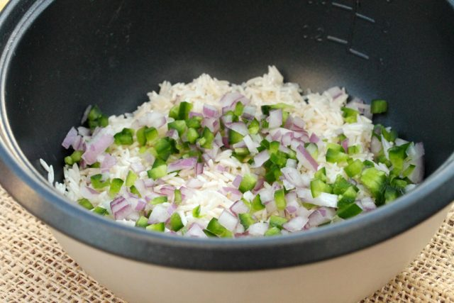 Rice, Onion and Jalapeno in pot