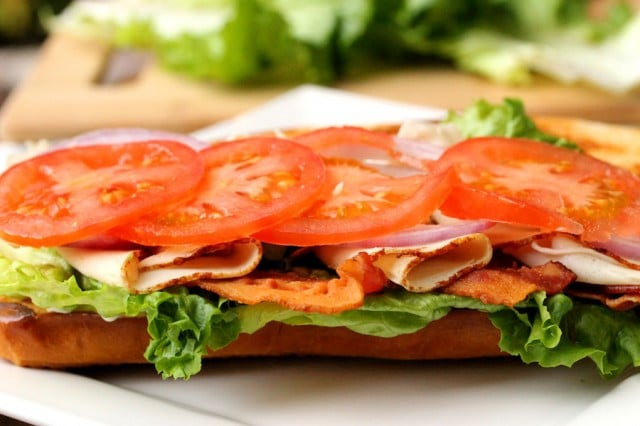 Sliced Tomatoes on Sandwich