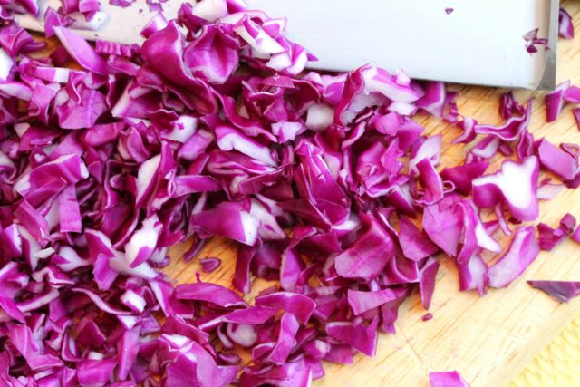 Shredded Purple Cabbage on board