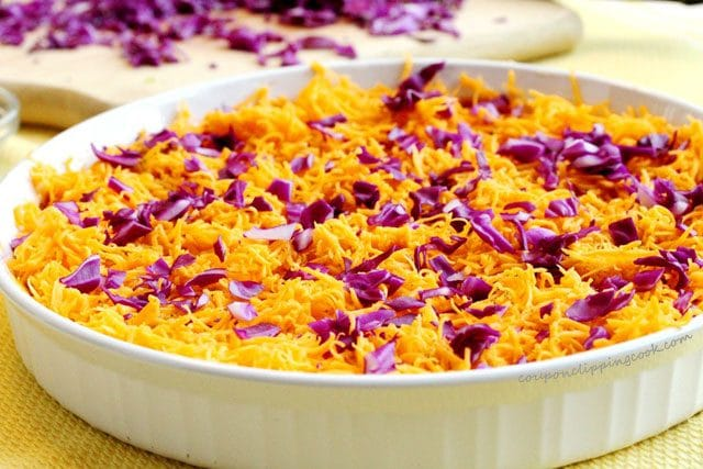 Red Cabbage and Cheese in Bowl
