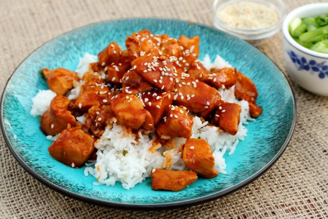 Spicy Chicken and Rice on plate