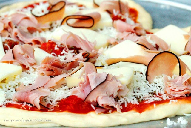 Ham Slices on Pizza