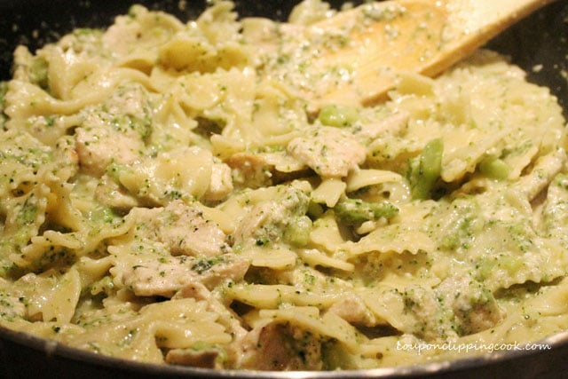 Pasta with chicken and cream sauce in pan