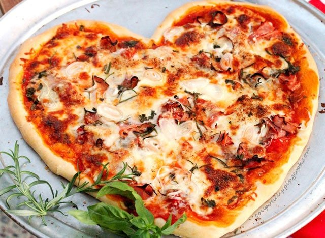 Heart Shaped Pizza with Ham and Cheese