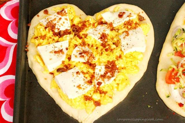 Heart Shaped Breakfast Pizza on Pan
