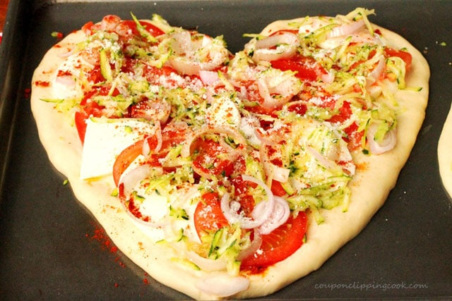 Heart Shaped Vegetarian Pizza on Pan