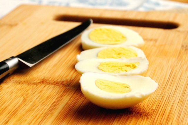 Hard Boiled Eggs on cutting board