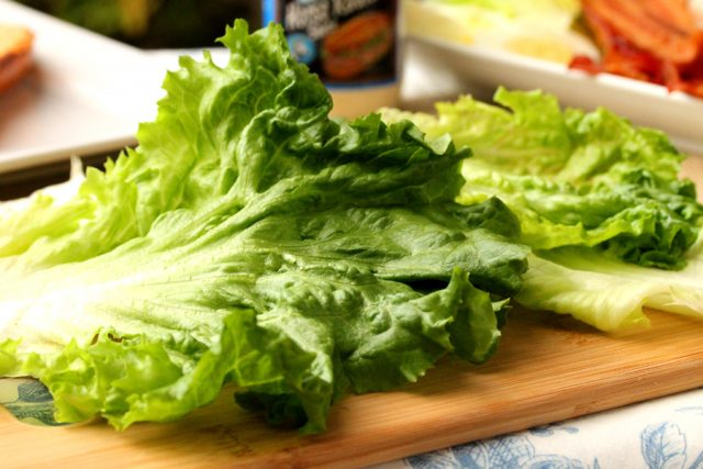Green Lettuce on cutting board