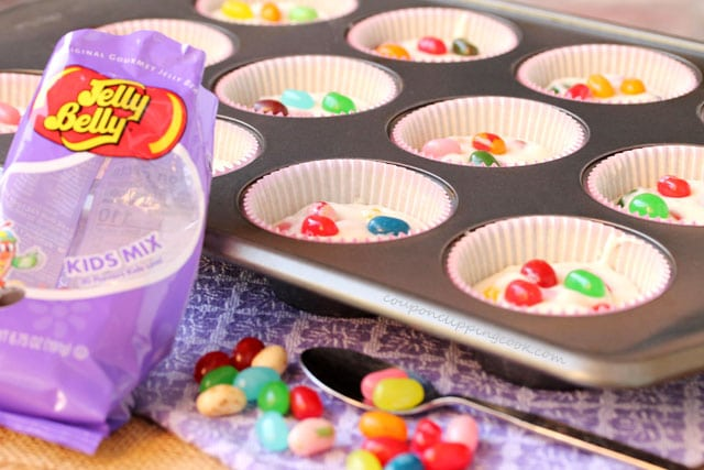 Jelly beans on top of batter