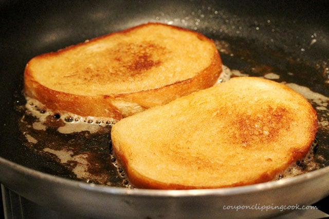 Toast bread with butter in pan