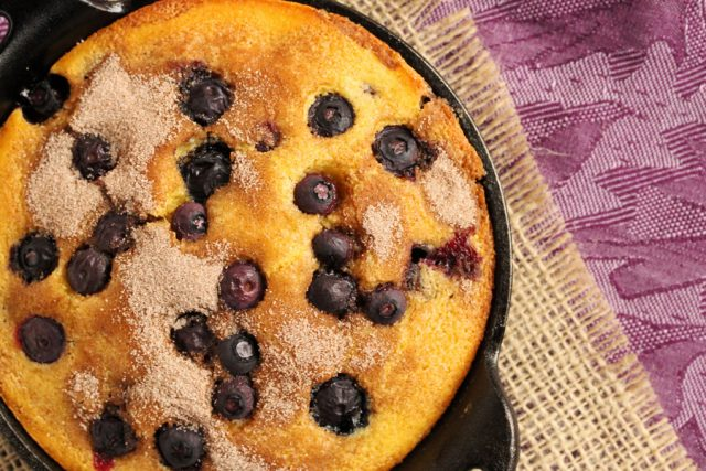 Corn Bread with Blueberries in skillet
