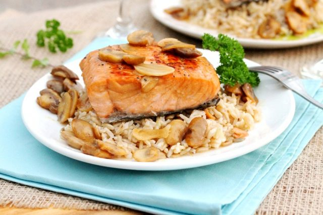 Salmon Marsala and Rice on plate