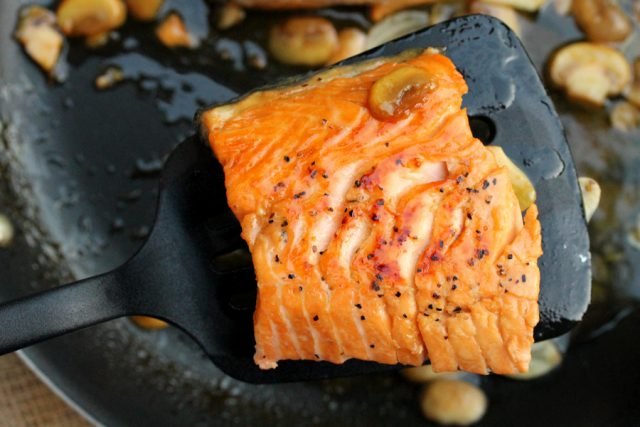 Poached Marsala Salmon on spatula