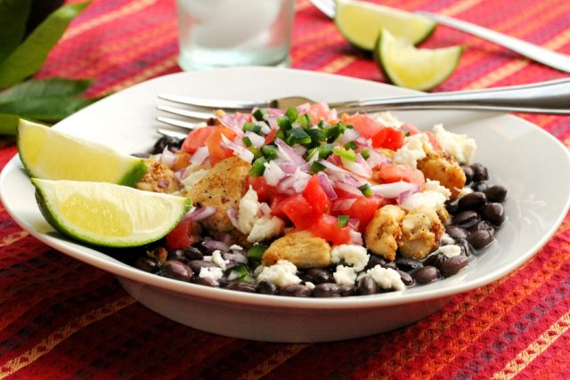 Spicy Chicken and Black Beans in bowl