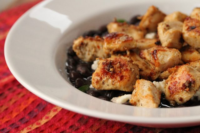 Chicken on Black Beans in bowl