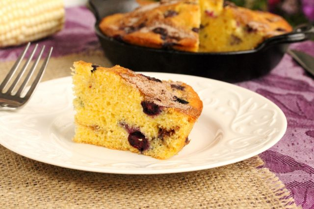 Piece of Blueberry Corn Bread on plate