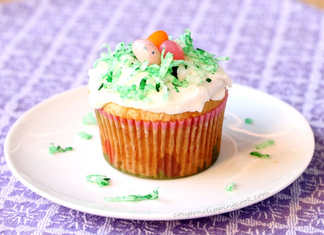 Jelly bean cupcake on plate