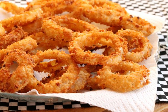 Fried Onion Rings on Plate