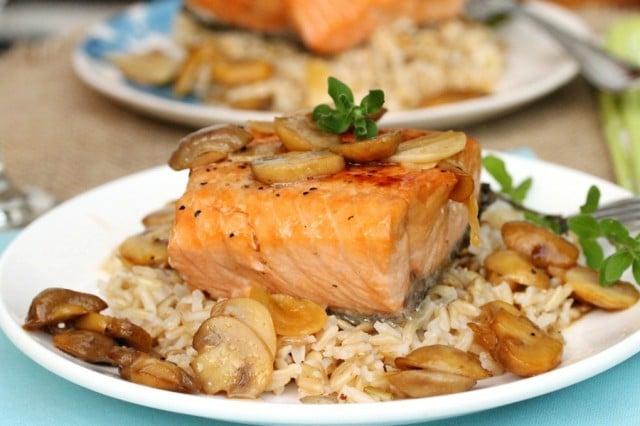 Salmon Marsala on Rice