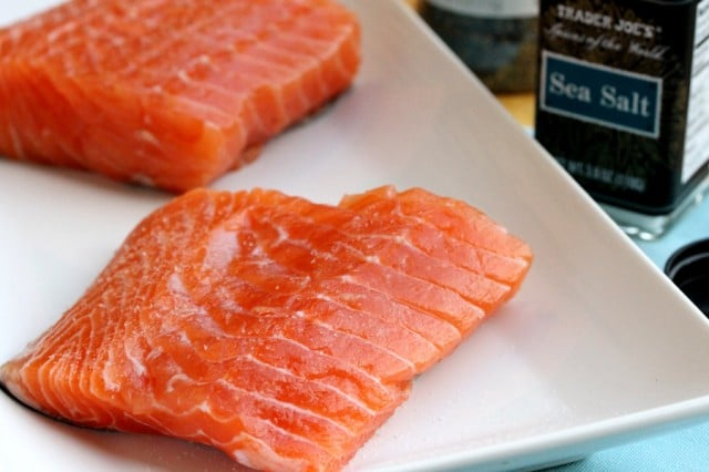 Salt on Salmon Fillets