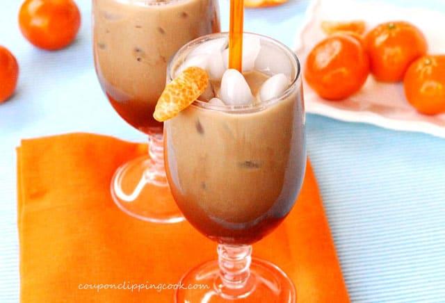 Iced Mandarin Orange Cafe Mocha in a glass