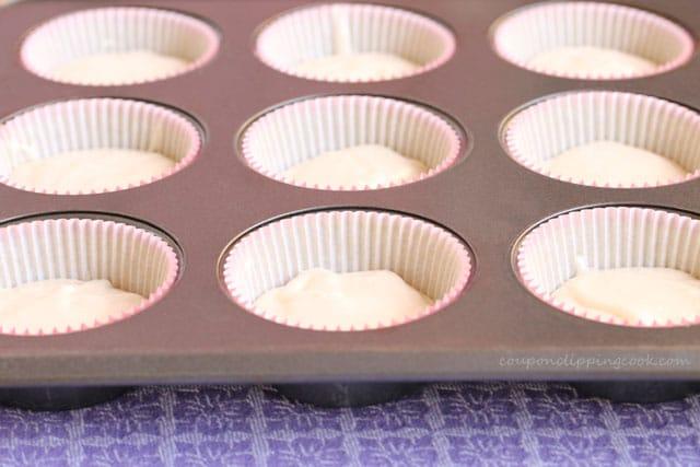 Cupcake batter in pan