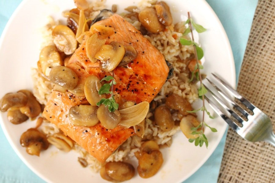 Marsala salmon with mushrooms brown rice coupon for Rice side dishes for fish