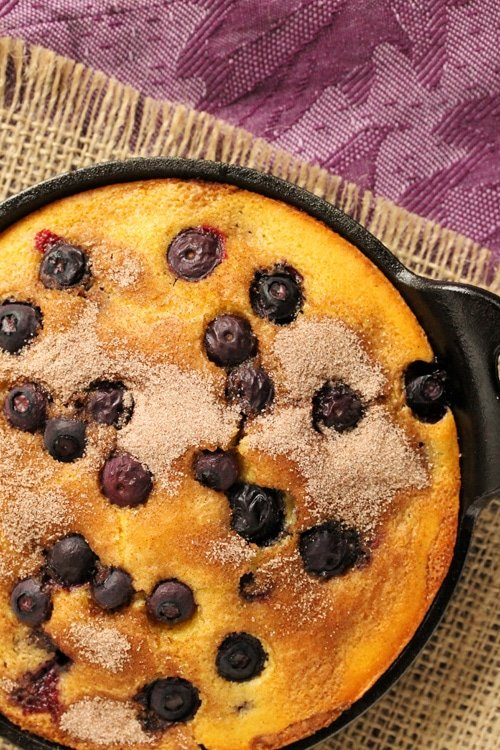 Blueberry Cornbread in pan