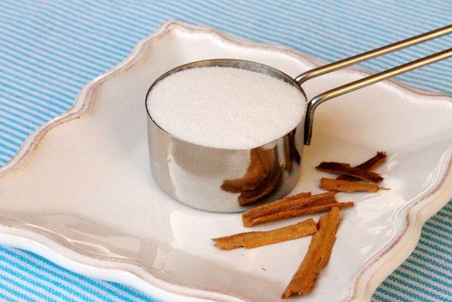 Sugar and Cinnamon Bark on Plate