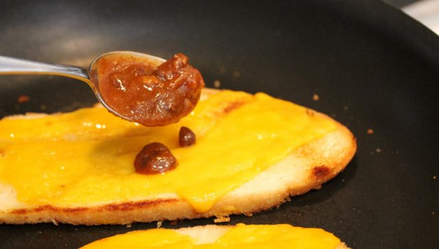 Chili on Cheese Toast in pan