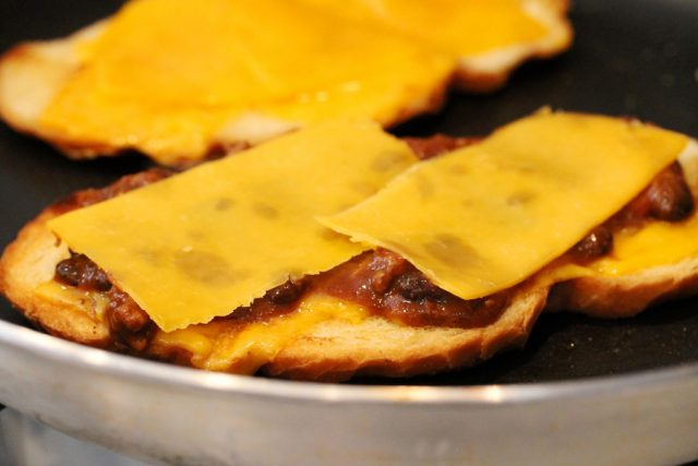 Cheese on Chili Toast in pan